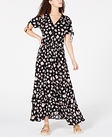 Juniors' Tie-Sleeve Floral Maxi Dress, Created for Macy's