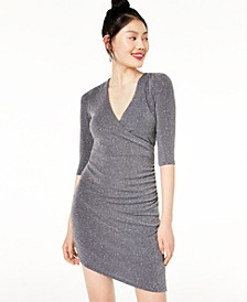 Juniors' Asymmetrical Glitter Bodycon Dress