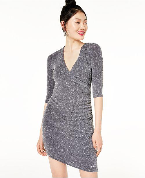 Speechless Juniors' Asymmetrical Glitter Bodycon Dress