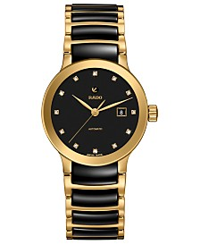 Rado Women's Swiss Automatic Centrix Diamond-Accent Black Ceramic & Gold-Tone PVD Stainless Steel Bracelet Watch 28mm