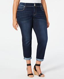 I.N.C. Plus Size Tummy-Control Boyfriend Jeans, Created for Macy's