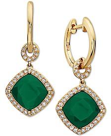 EFFY® Green Onyx (8mm) & Diamond (1/3 ct. t.w.) Drop Earrings in 14k Gold