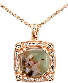 "Le Vian® Peacock Aquaprase (10mm) & Vanilla Topaz (1/4 ct. t.w.) 20"" Pendant Necklace in 14k Rose Gold"