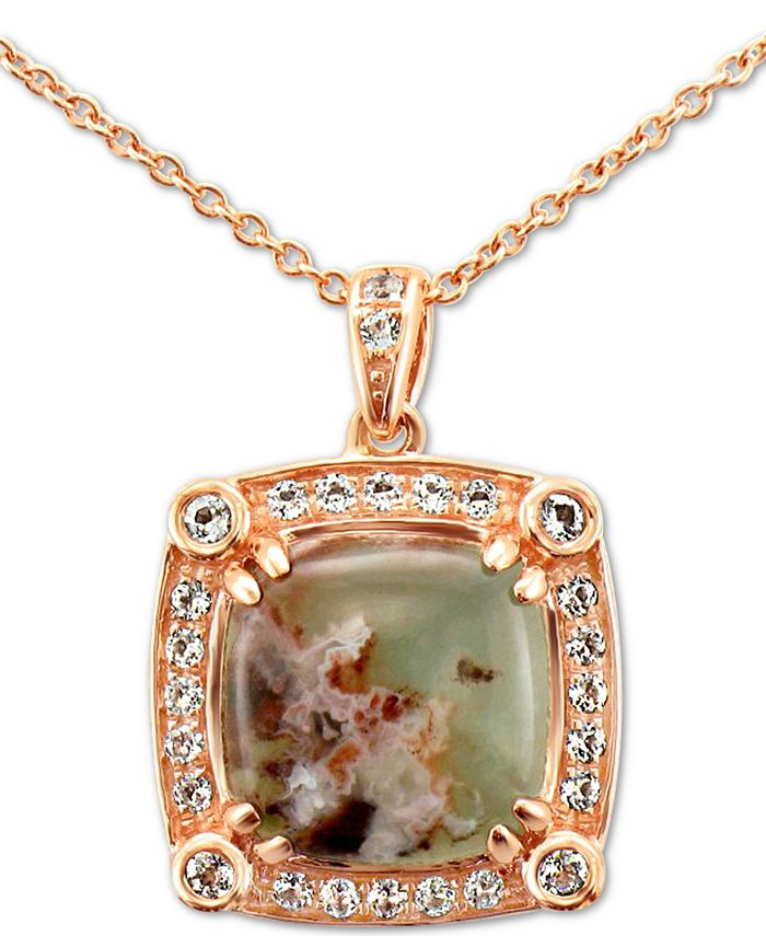 "Le Vian - Peacock Aquaprase (10mm) & Vanilla Topaz (1/4 ct. t.w.)  20"" Pendant Necklace in 14k Rose Gold"