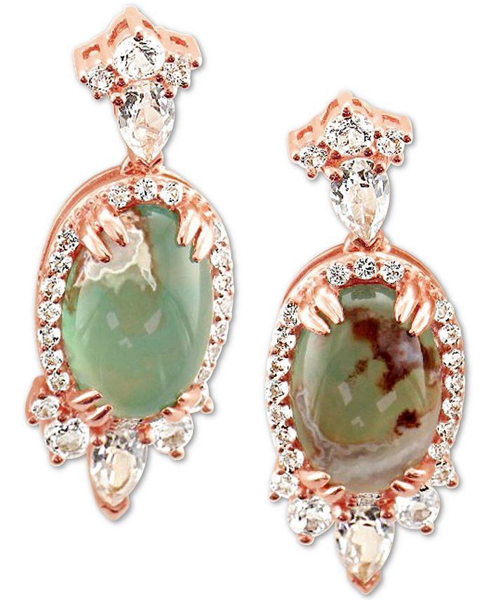 Le Vian - Peacock Aquaprase (12 x 8mm) & Vanilla Topaz (1-3/4 ct. t.w.) Drop Earrings in 14k Rose Gold