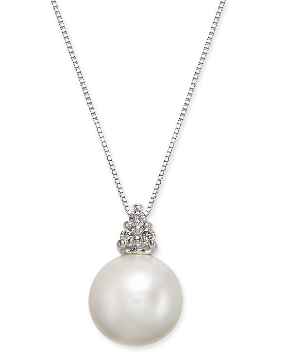 """Macy's Cultured Freshwater Pearl (10mm) & Diamond Accent 18"""" Pendant Necklace in 14k White Gold"""