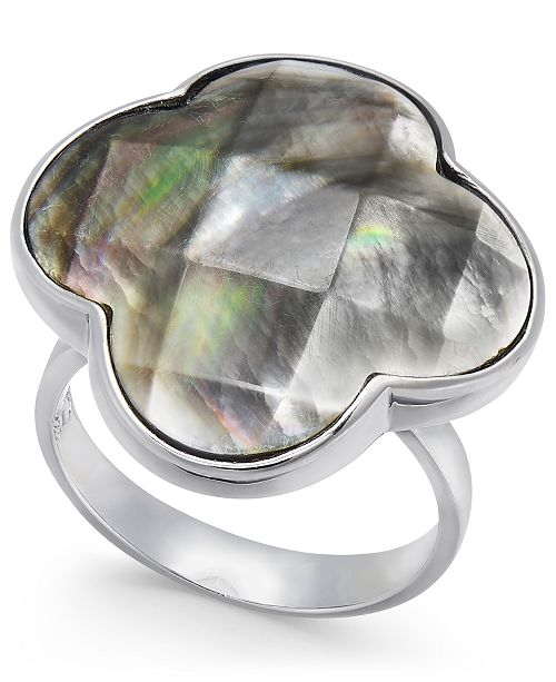 Macy's Mother of Pearl Clover Ring in Sterling Silver