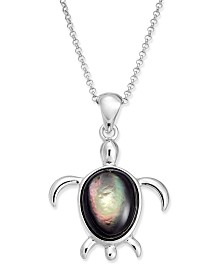 """Cultured Tahitian Mother of Pearl Turtle 18"""" Pendant Necklace in Sterling Silver"""
