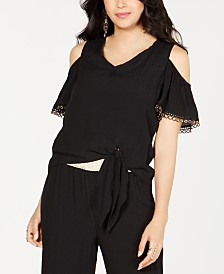 Thalia Sodi Cold-Shoulder Tie-Front Top, Created for Macy's
