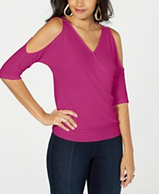Thalia Sodi Faux-Wrap Cold-Shoulder Top, Created for Macy's