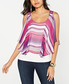 Thalia Sodi Stripe Cold-Shoulder Overlay Top, Created for Macy's