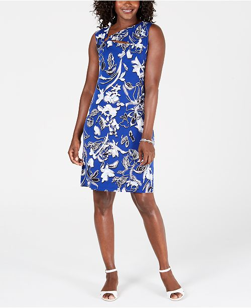 JM Collection Floral-Print Embellished-Neck Dress, Created for Macy's