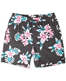 "Easy Livin' Bright Floral Print 18"" Swim Trunks"