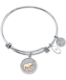 """You Create Your Own Luck""  Elephant Charm Adjustable Bangle Bracelet in Rose Gold-Tone & Stainless Steel"