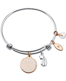 """Unlock Your Dream"" White Enamel Adjustable Bangle Bracelet in Rose Gold-Tone Stainless Steel Silver Plated Charms"