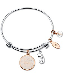 "Unwritten ""Unlock Your Dream"" White Enamel Adjustable Bangle Bracelet in Rose Gold-Tone Stainless Steel"