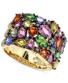 EFFY® Multi-Gemstone (6-5/8 ct. t.w.) & Diamond (1/2 ct. t.w.) Statement Ring in 14k Gold
