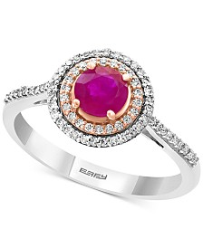 EFFY®Certified Ruby (5/8 ct. t.w.) & Diamond (1/5 ct. t.w.) Statement Ring in 14k White Gold and 14k Rose Gold