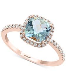 EFFY® Aquamarine (1-1/2 ct. t.w.) & Diamond (1/4 ct. t.w.) Halo Ring in 14k Rose Gold