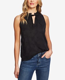 CeCe Embroidered Split-Neck Top