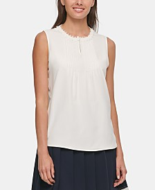 Tommy Hilfiger Pleated Crochet-Trim Top