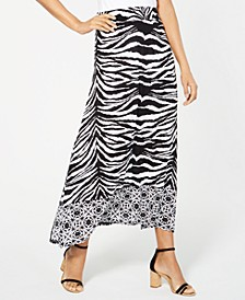 INC Zebra-Print Gauze Maxi Skirt, Created for Macy's