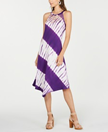 I.N.C. Petite Tie-Dyed Crochet-Trim Midi Dress, Created for Macy's