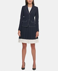 Tommy Hilfiger Stitched Blazer & Colorblocked Skirt
