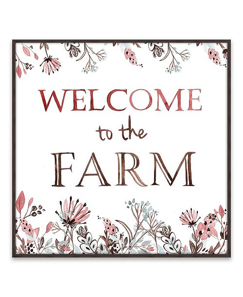 """Artissimo Designs Welcome To The Farm Recessed Box Framed Art - 16"""" W x 16"""" H x 1.25"""" D"""