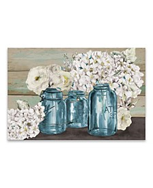 Colorful Flowers In Mason Jar Hand Embellished Canvas