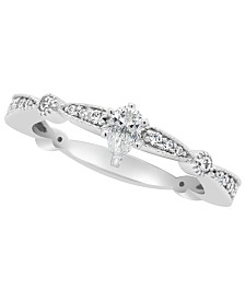 Certified Pear Shape Diamond Engagement Ring (1/2 ct. t.w.) in Platinum