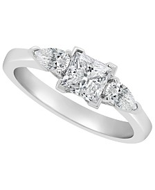Certified Princess Cut Diamond Engagement Ring (1 1/10 ct. t.w.) in 14k White Gold, Rose Gold, or Yellow Gold
