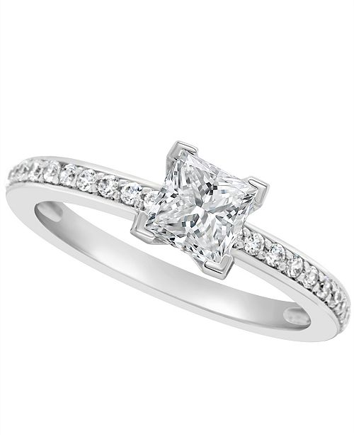 Macy's Certified Princess Cut Diamond Engagement Ring (1 ct. t.w.) in 14k White Gold, Rose Gold, or Yellow Gold