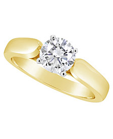 Certified Round Diamond Solitaire Engagement Ring (1 ct. t.w.) in 14k White Gold, Rose Gold, or Yellow Gold