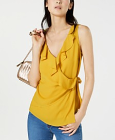 I.N.C. Solid Ruffle Surplice Tank Top, Created for Macy's