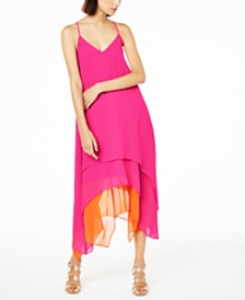 Bar III Sleeveless Tiered Handkerchief-Hem Dress, Created for Macy's