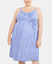 Plus Size Striped Midi Dress