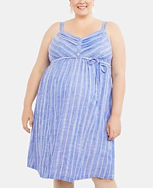 Motherhood Maternity Plus Size Striped Midi Dress