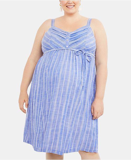 Motherhood Maternity Plus Size Striped Midi Dress