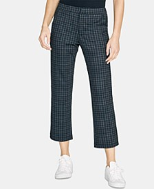 Oxford Plaid Kick-Flare Crop Capri Pants