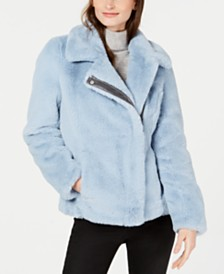 Calvin Klein Asymmetrical Faux-Fur Coat