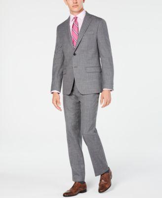 Men's Classic/Regular Fit UltraFlex Stretch Gray Sharkskin Suit Jacket