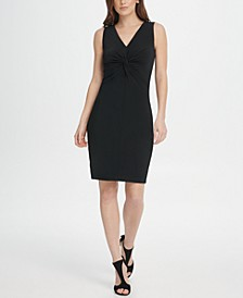 Jersey Center Knot Sheath Dress