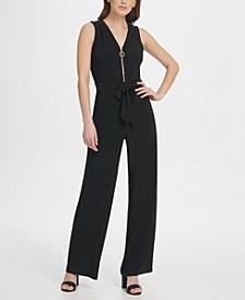 Jersey V-Neck Zipper Jumpsuit
