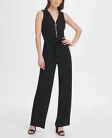 DKNY Jersey V-Neck Zipper Jumpsuit