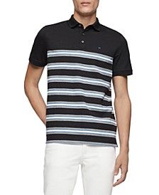 Men's Engineered Stripe Ribbed Polo Shirt