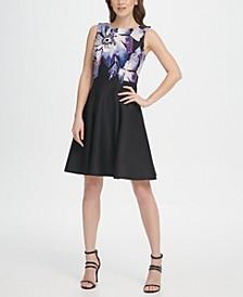 Scuba Floral Print Fit & Flare Dress