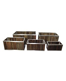 Rectangular Wooden Planter with Stainless Steel Trim