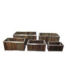 Leisure Season Rectangular Wooden Planter with Stainless Steel Trim