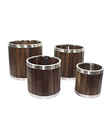 Round Wooden Planter with Stainless Steel Trim